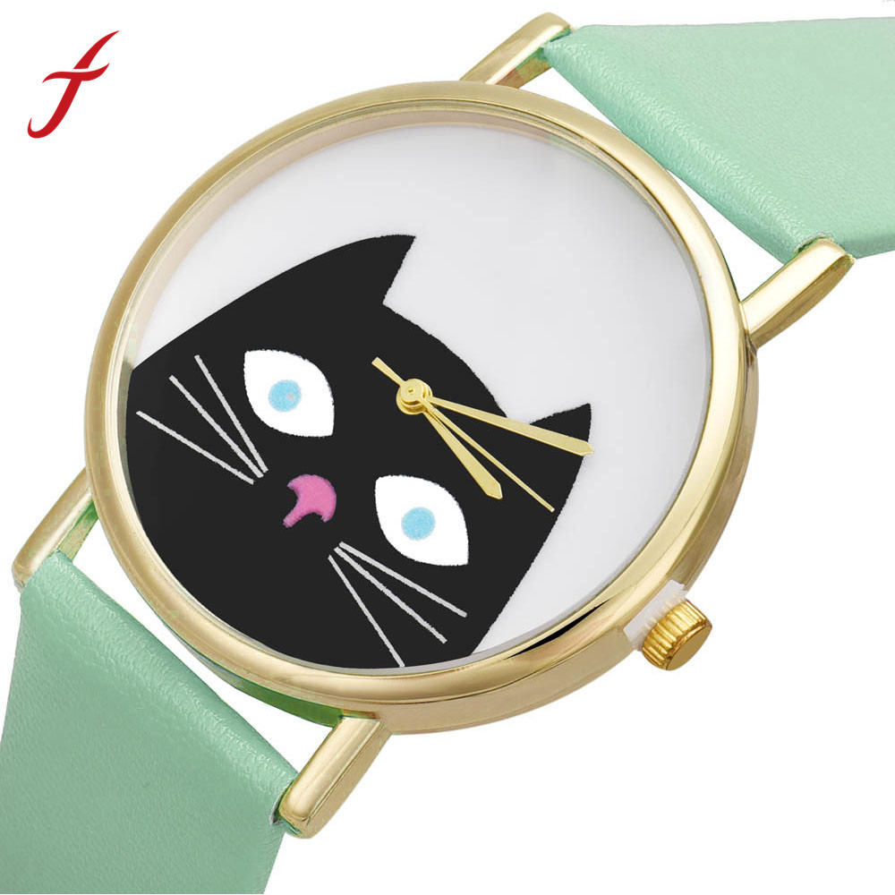 Feitong New Fashion Women PU Leather Dress Watches Cute Cartoon Cat Band Analog Quartz Wrist Watch Clocks Hours Free Shipping new cartoon children watch girl watches fashion boy kids student cute leather sports analog wrist watches relojes k519