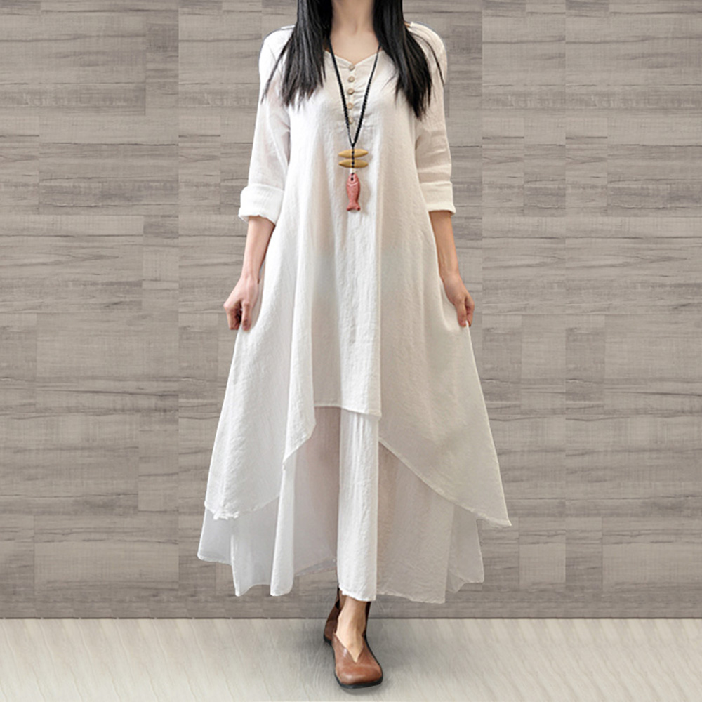 US $10.23 31% OFF|Women Plus Size White Long Dress Loose Cotton Linen  Asymmetric False Two Pieces Maxi Dresses Spring Summer Ladies Robe  Vestido-in ...