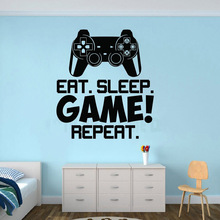 Vinyl Art Removable Poster Mural Video Game Controller Wall Sticker Boys Room Decor Gamer Decals Eat Sleep Repeat W113