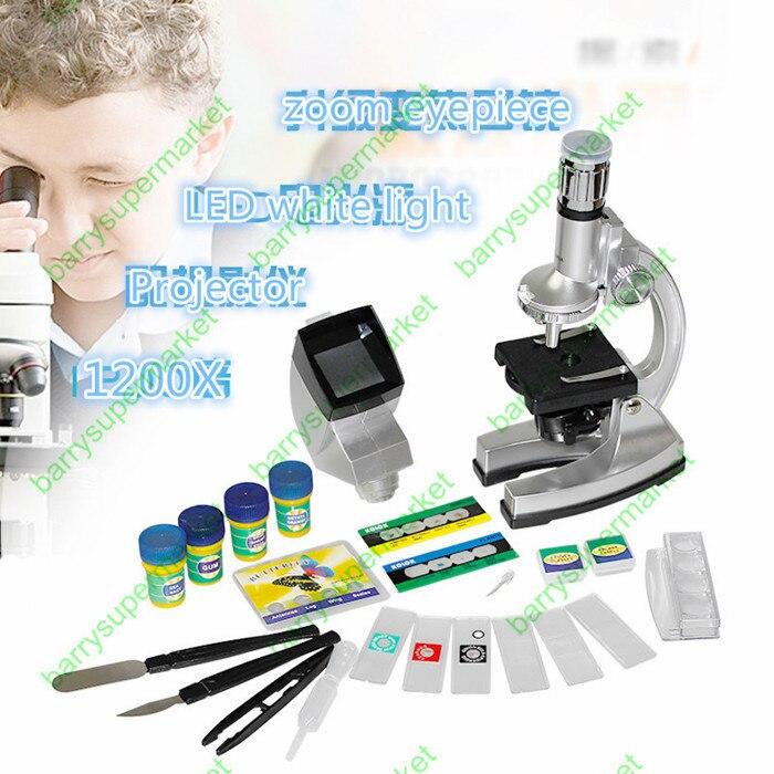 1200X Étudiants Enfants Microscope Biologique Kit des expériences scientifiques jouets éducatifs cadeau Explorer le monde microscopique