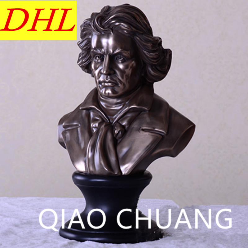 Western Classical Composer Musician Ludwig Van Beethoven BUST Statue Creative Colophony Crafts Living Room Decoration G1004 retro music ludwig van beethoven bust franz joseph haydn statue colophony crafts sketch teaching collectible decorations l2352
