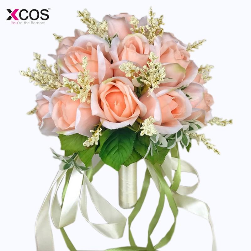 Bruidsboeket Hoge kwaliteit ivoorroos Gooi bruiloft 18 bloemen - Bruiloft accessoires - Foto 5