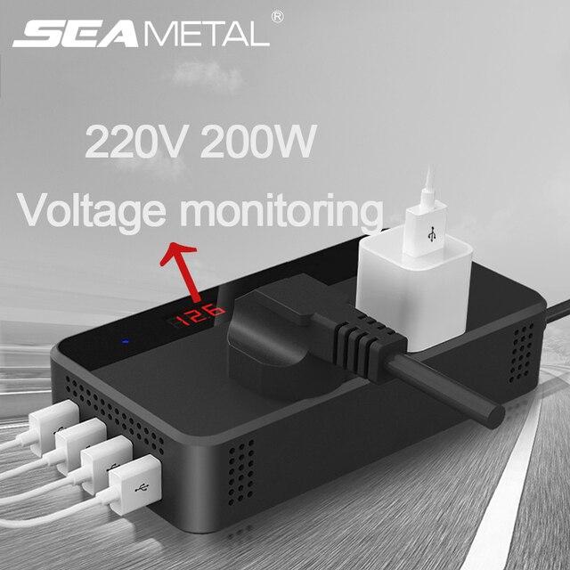 محول فولطية للسيارة 12 فولت 220 فولت 200 وات محول كهربائي مع 4 مقبس USB شاحن ولاعة السجائر محول السيارات