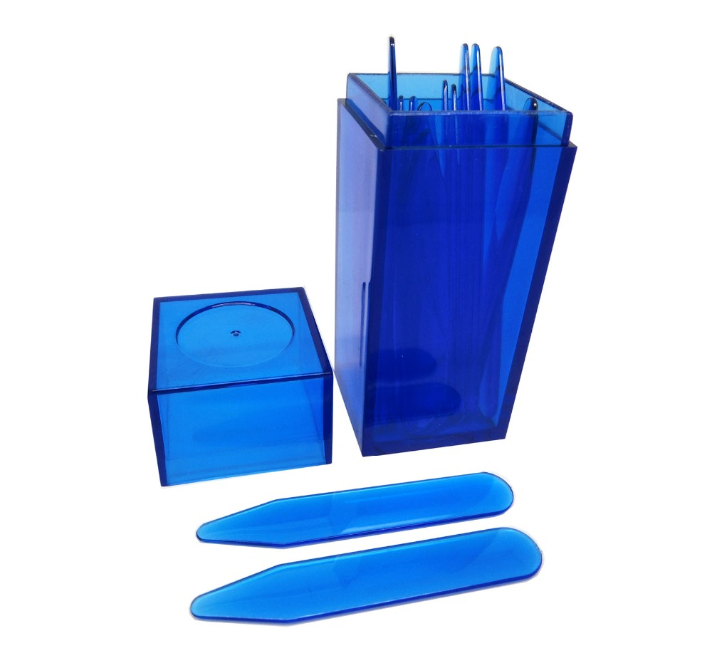 SHANH ZUN 10 Pcs Blue Plastic Collar Stays Bones Stiffeners 5 Sizes Mixed In Blue Plastic Jar Container