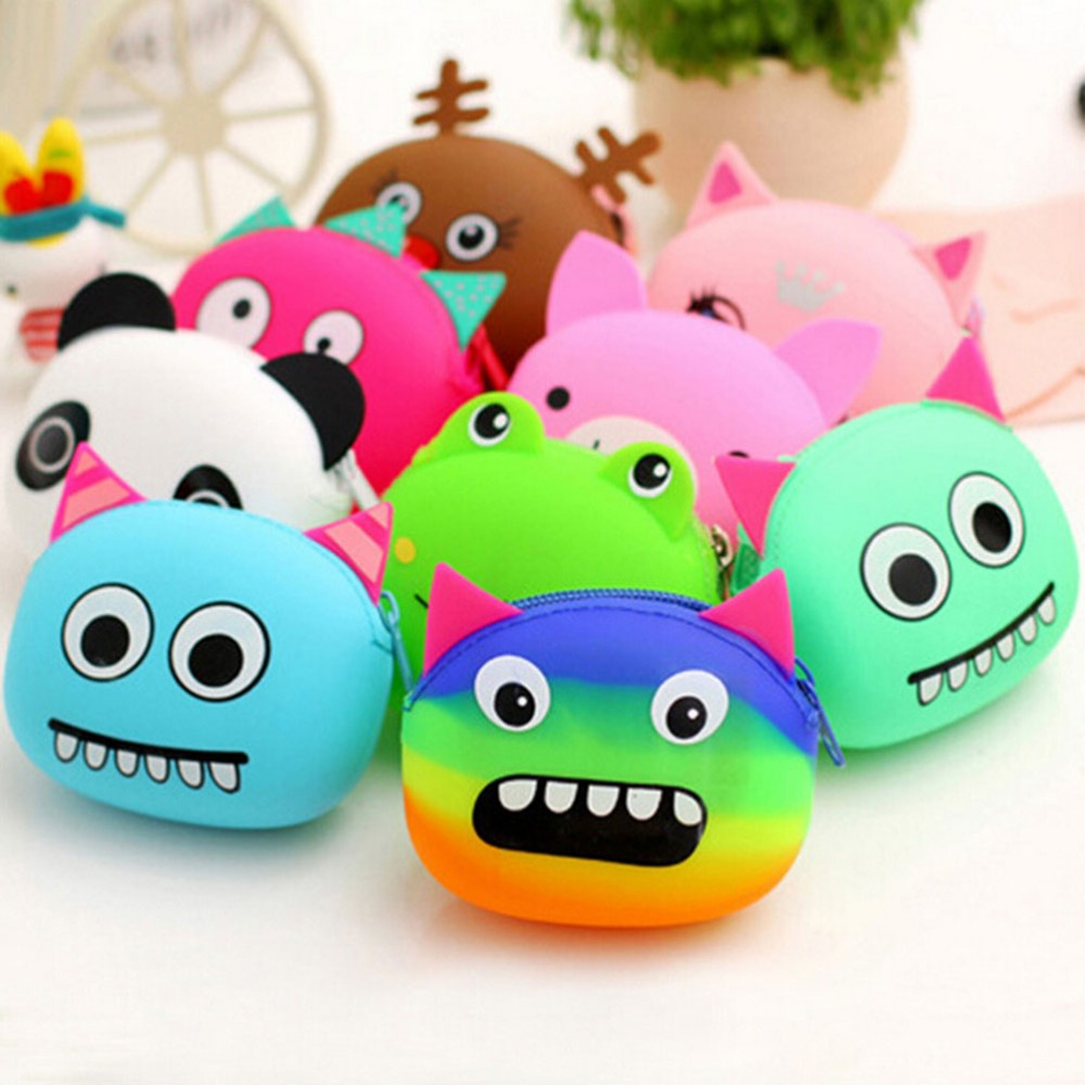 1PCS Girls 3D Cartoon Animal Candy Colored Coin Bags Key Wallets Women Children Cute Mini Coin Purse For Earphone Headphone women s cute 3d dog nylon corduroy coin purse key earphone storage bags wallet