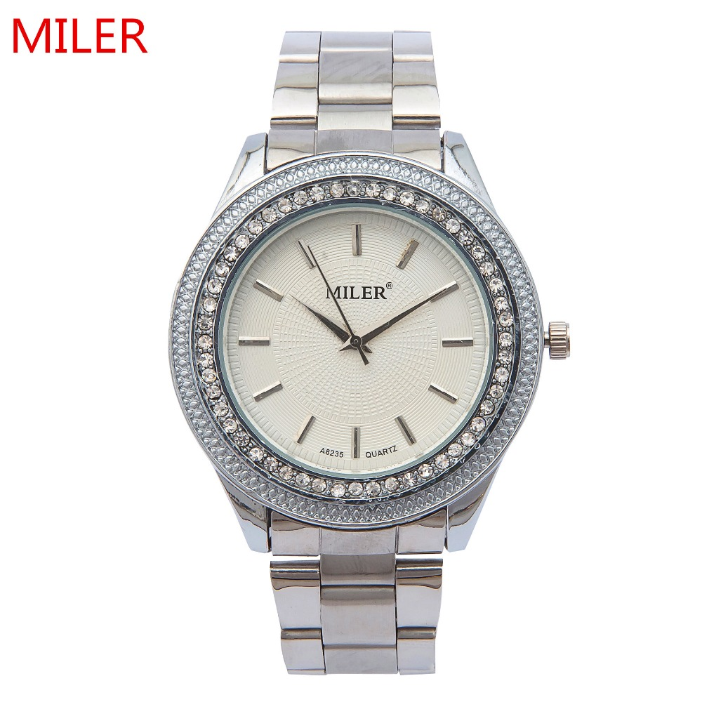 New Fashion MILER Brand Women Watch Luxury Stainless Steel Rhinestone  Quartz Wristwatch Ladies Dress Clock Relogio Feminino miler vintage fashion watch women retro leather strap world map casual quartz wristwatch ladies creative clock relogio feminino