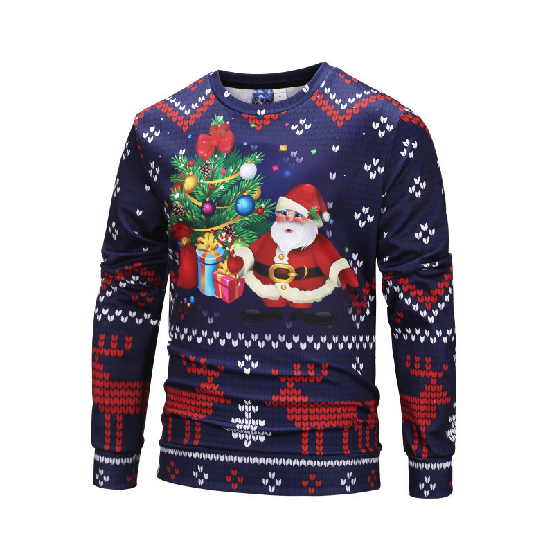 ab60163efa47f Funny Christmas Pullovers Men Santa Claus Purple Sweatshirt Elk Print 2019  New Year Polyester 3d Hoodie Male Autumn Clothing