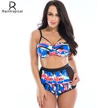2017 Новый Цветочный Принт Высокая Талия Купальник Push Up Бикини Плюс размер Купальники Женщины Cut Out Bikinis For Famme Больших Размеров 3XL