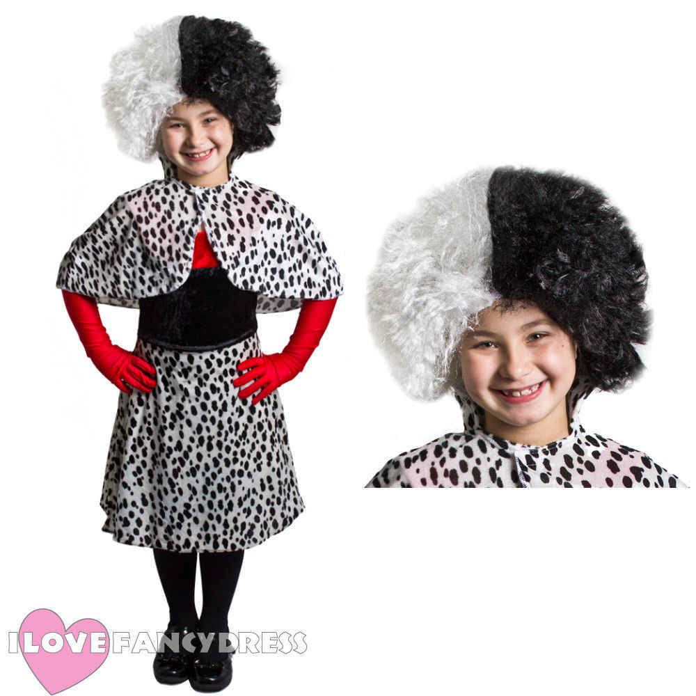 Cruella DeVille Children Child/'s Cape Cloak fancy dress Halloween dalmatian 101
