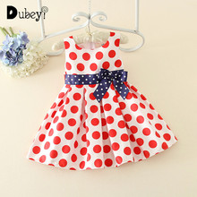 Dubeyi Newborn Wave-point Bow-knot Infant Summer Sleeveless