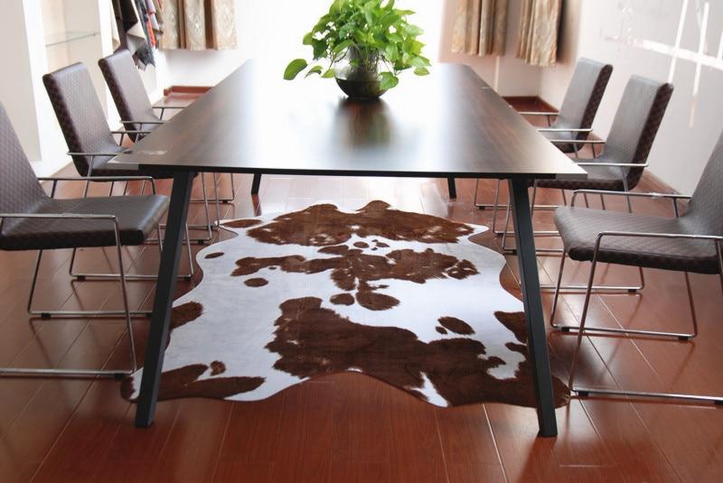 200X140 CM marron créatif naturel forme PU tapis peau de vache Imitation cuir tapis peau de vache tapis pour la décoration