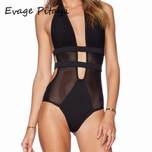 2017 new swimsuit black mesh one piece swimsuit women Cut out Monokini Swim Suits Lace see through swimwear women
