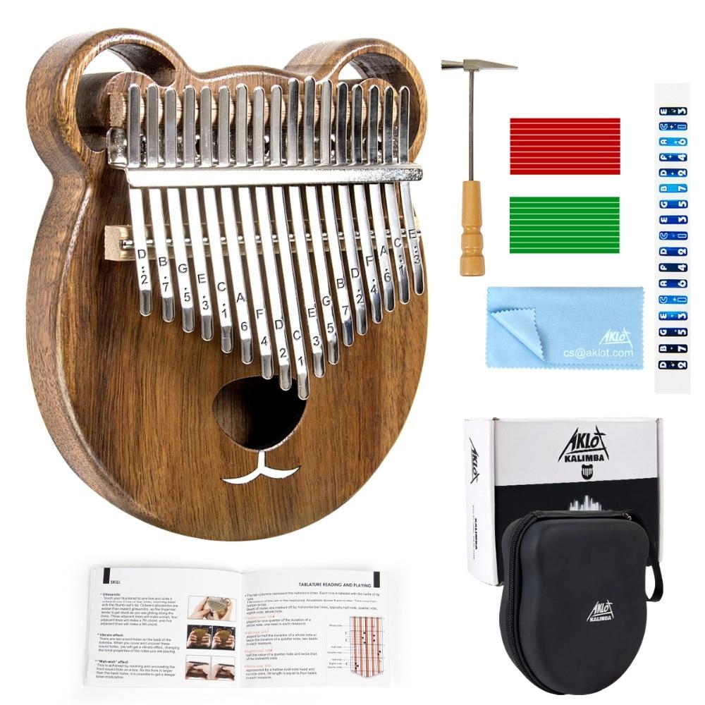 Aklot Kalimba 17 Keys Thumb Finger Piano Marimba Solid Wood with Carry Case Tuning Hammer Study