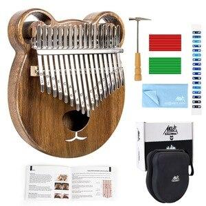 Image 1 - Aklot 17 Schlüssel Kalimba Daumen Klavier Massivem Nussbaum Holz Marimba Kit mit Sticks Fall Tasche Tuning Hammer Booklet Voller Zubehör