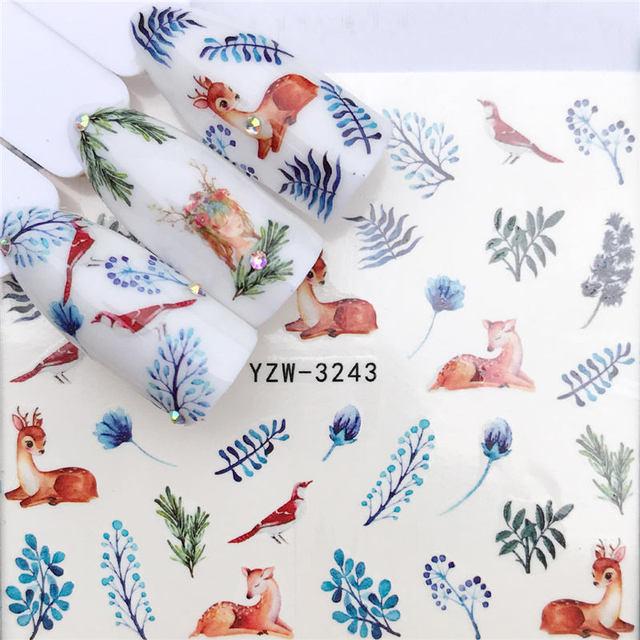 WUF Nail Art Nail sticker2019 New Slider Tattoo Flower Water Decal Santa Claus Snowman Full Wraps Designs Decals