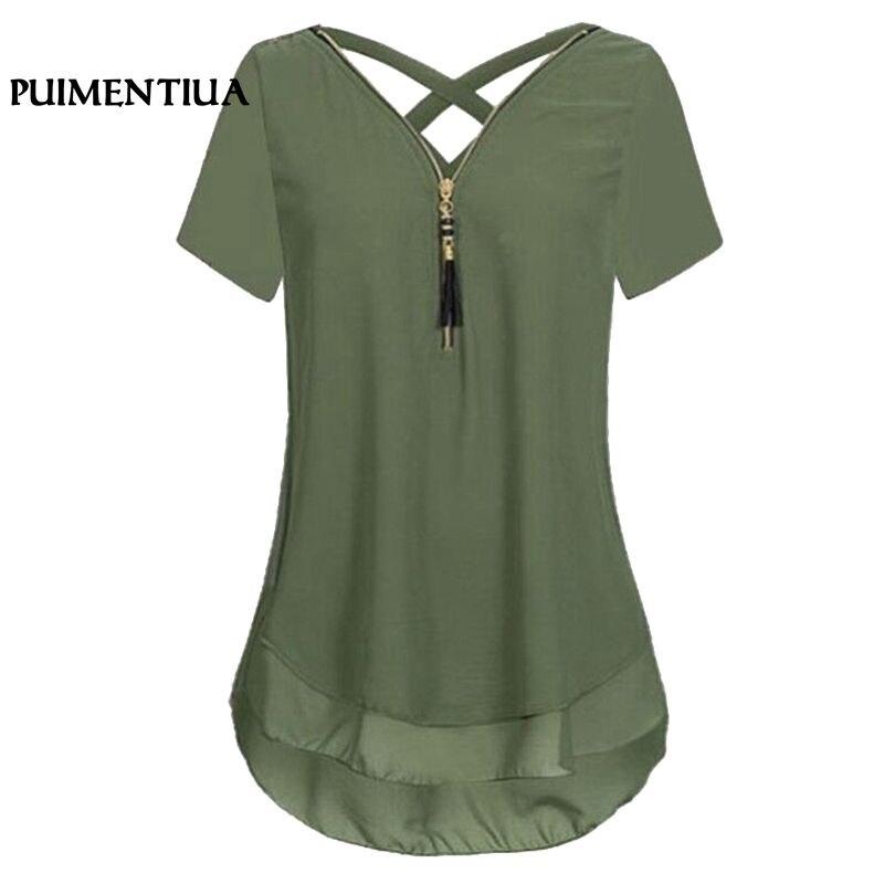 Puimentiua Summer Short Sleeve Chiffon   Blouse     Shirts   2018 Casual Zipper V Neck Blusas Women Plus Size 5XL Korean Clothing Tops