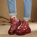 2017 Summer Genuine Leather Women Boots Platform Thick Heels Round Toes Cut Out Hole  Ankle Boots