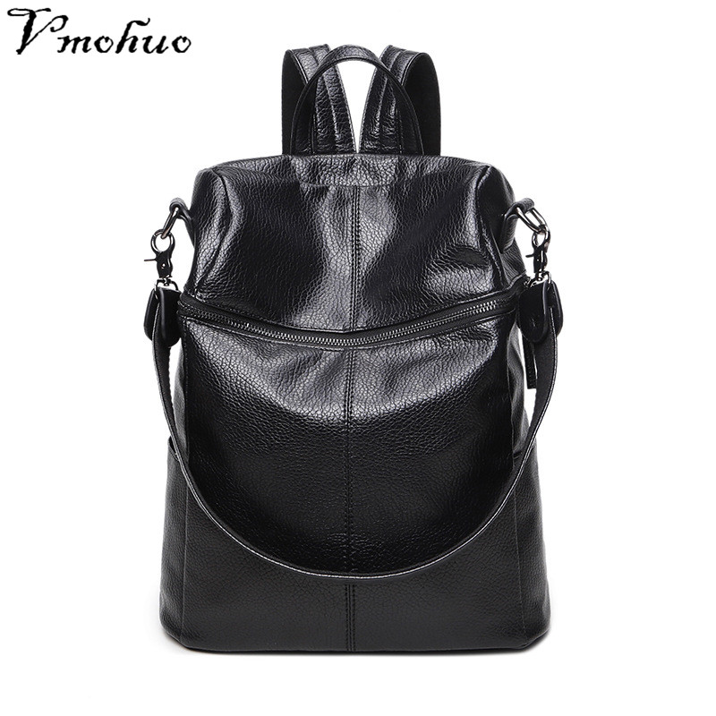 VMOHUO New PU Leather Women Backpacks Fashion Retro Backpack for School Girls Casual Tote bags Back packs mochilas mujer 2018