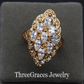Luxurious Gold Filled Clear White Cubic Zirconia Created Diamond Bridal Wedding Bend Rings Jewelry For Brides RG004