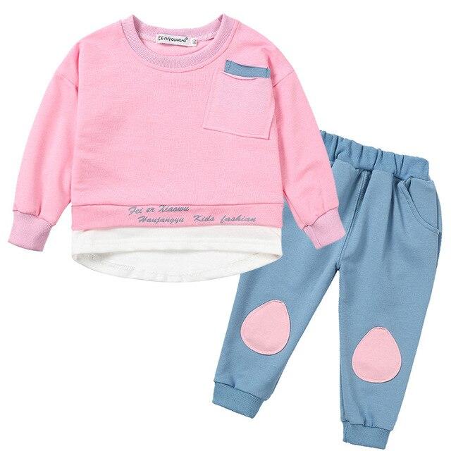 Niños Niñas Ropa 2019 PRIMAVERA/otoño bebé niños niñas conjunto de algodón de manga larga niños ropa Conjuntos Niño paño