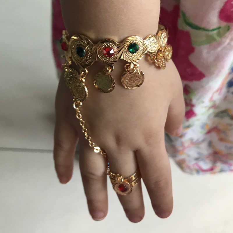 WANDO Coin Bangles For baby/girl with rings Girls Baby Gold Color Charm Beads Bracelet Bangles coin Jewelry Child Party wb115