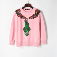 2017 women's new style new style personality pasted green monkey light flower pink sweater