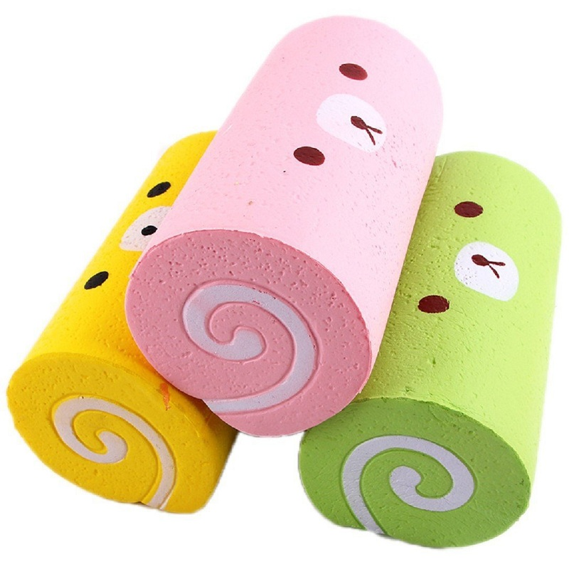 Cute Jumbo Cartoon Bear Cake Roll Squishy Slow Rising Bread Sweet Kid Toy Xmas Gift Squeeze Toy Phone Strap 15*8.5CM new slow rebound toy jumbo squishy pu simulation bakery cake