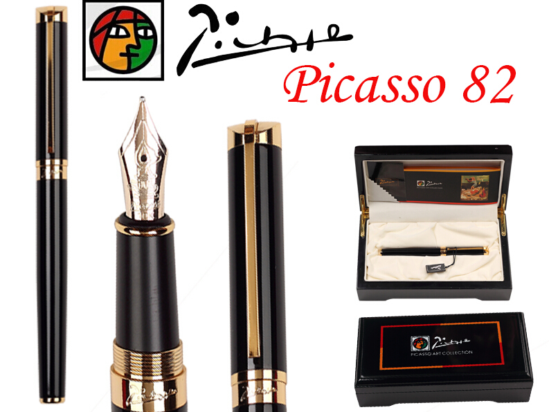8 pcs/lot wholesale Fountain Pen Black M 10 K Solid Gold Nib NIB Picasso 82 the best gift Free Shipping italic nib art fountain pen arabic calligraphy black pen line width 1 1mm to 3 0mm