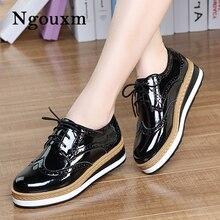 Ngouxm İlkbahar sonbahar kadınlar Patent deri Derbies düz platform siyah Brogue rahat ayakkabılar bayanlar zapatos de mujer