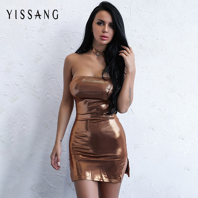 Yissang Strapless Women Bodycon Club Party Mini Dress Off Shoulder Shining Dresses  Sexy Split Autumn Elegant 4accf8649439
