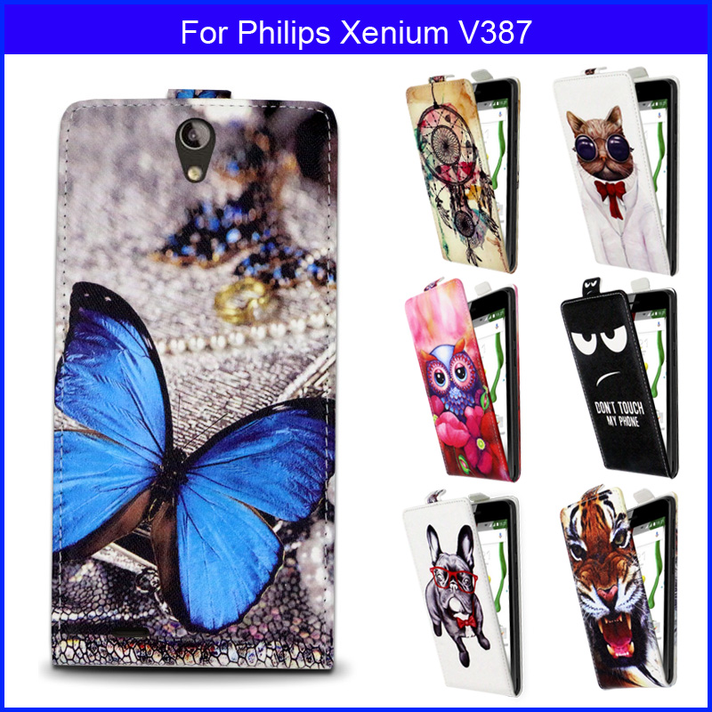 Fashion Patterns Cartoon Luxury Flip up and down PU Leather Case for Philips Xenium V387, gift image