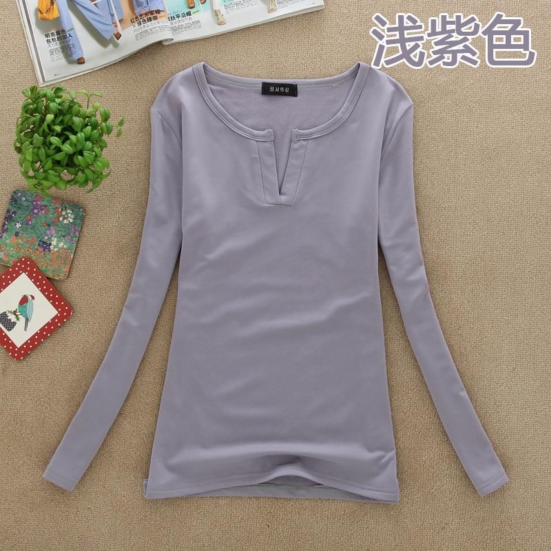 Spring Autumn New Korean Long sleeved Female Solid Color Deep V neck Slim Slimming Bottoming Shirt Plus Velvet Warm in Pullovers from Women 39 s Clothing