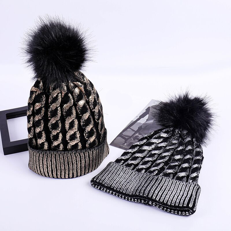 Ymsaid Winter Adult Silver Snap Fastener Knitted Beanies Women Bronzing Faux Fur Pom Pom Skullies Caps Teenager Warm Fold Hat(China)