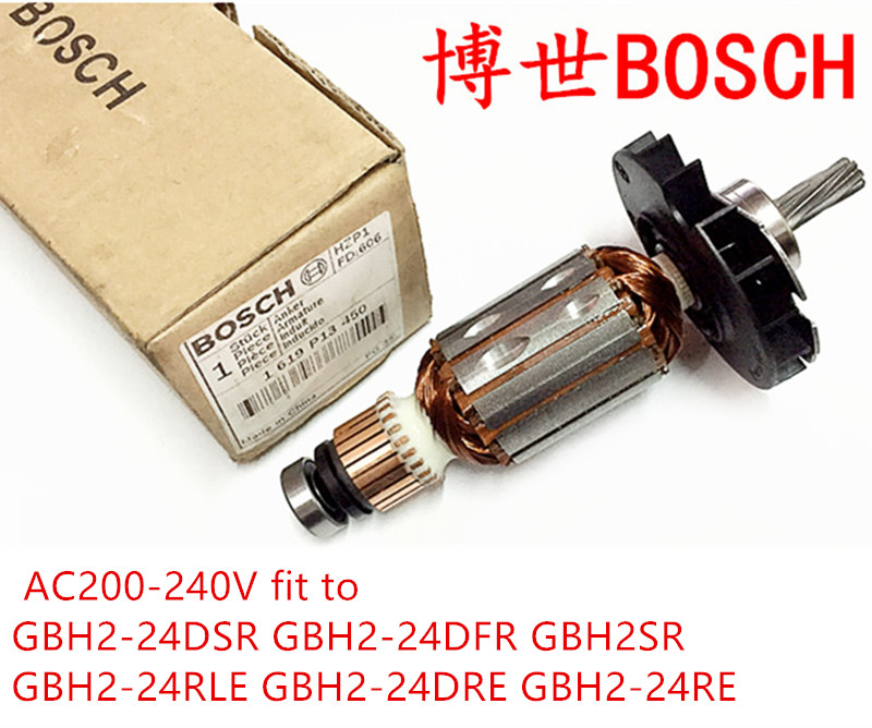 6 teeth Original Anchor for Bosch 24 Bosch GBH2-24DSR GBH2-24DFR GBH2SR GBH2-24RLE GBH2-24DRE GBH2-24RE Armature Rotor high quality replacement boutique cylinder sleeve for bosch gbh2 28 gbh2 28dfv electric hammer installed accessories