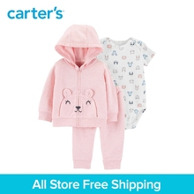 3pcs mouse print bodysuit pull-on pants mouse pockets with 3D ears jacket set Carter's baby girl spring autumn clothing 121I881