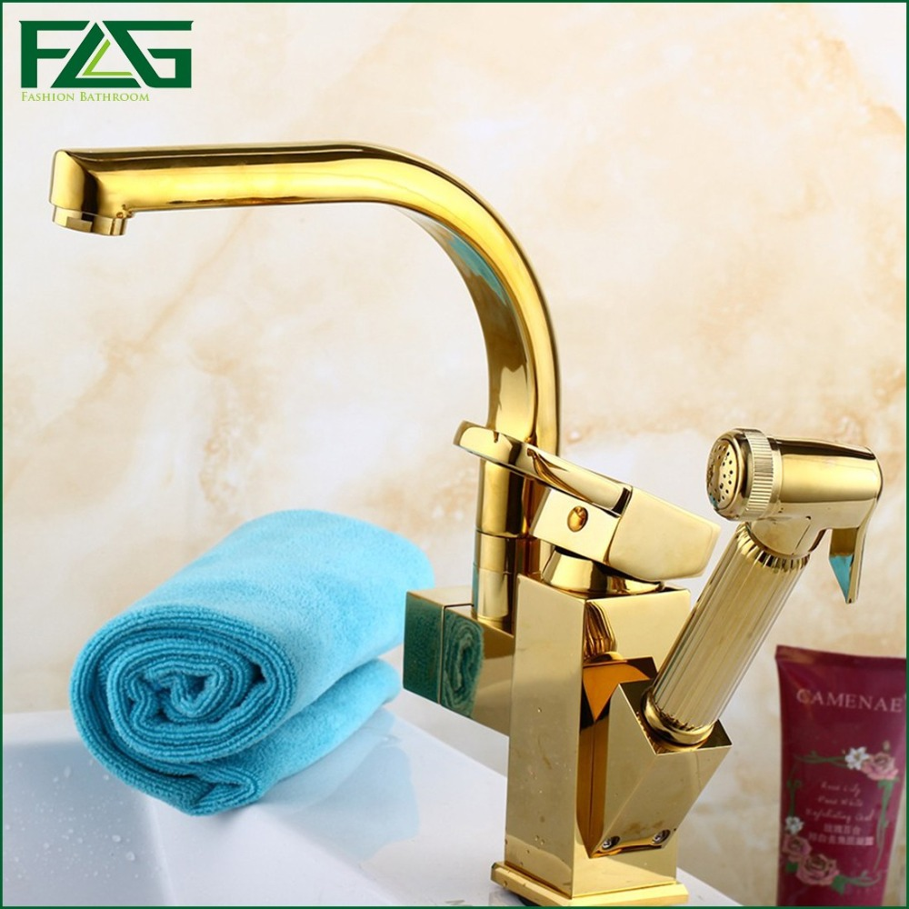 Kitchen Faucet Gold Hand Sprayer Rotatable Dual Sprayer Rubinetto Deck Mounted Cold Hot Kitchen Faucet Pull