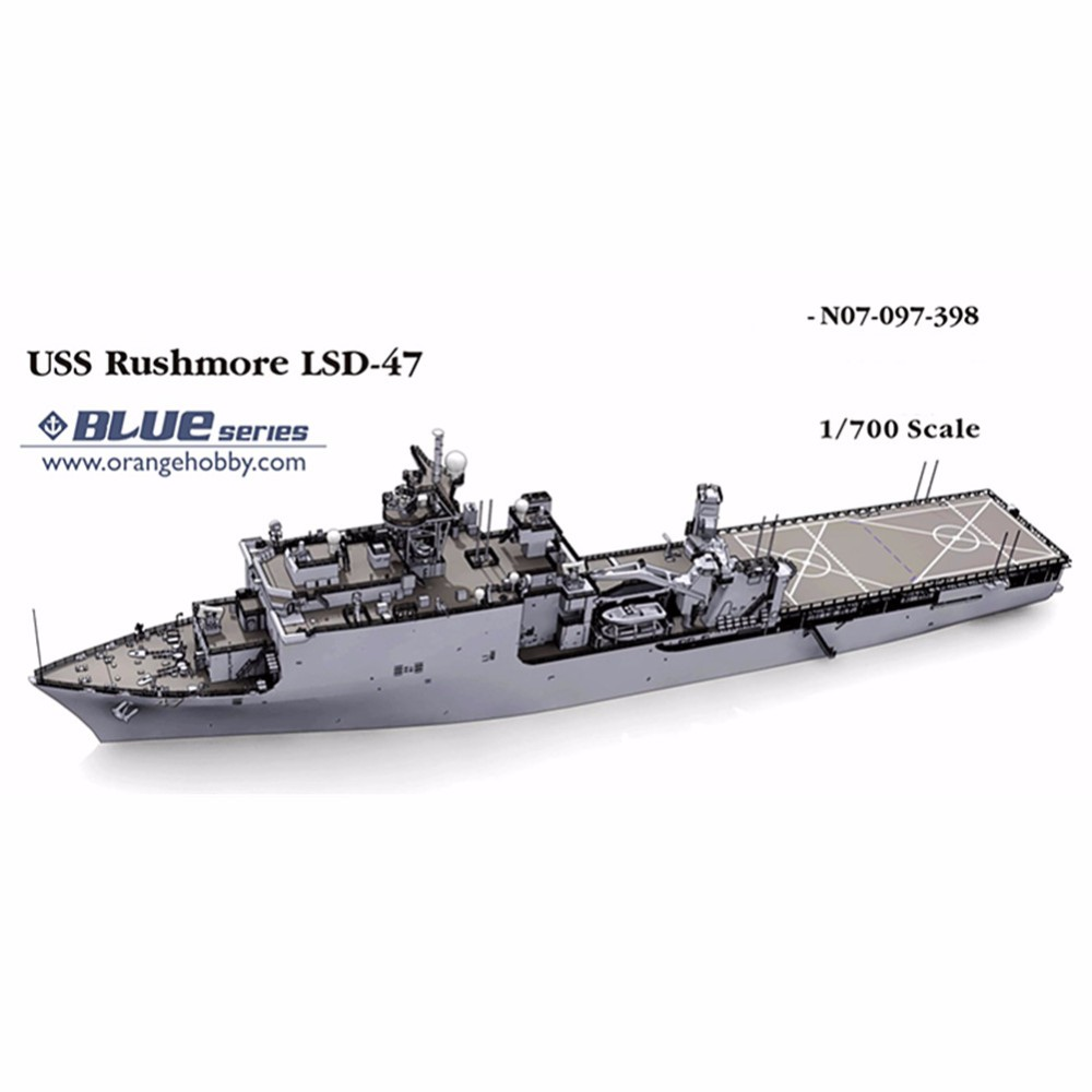 OHS Orange Hobby N07097398 <font><b>1</b></font>/<font><b>700</b></font> USS Rushmore LSD47 Assembly <font><b>Scale</b></font> Military <font><b>Ship</b></font> <font><b>Model</b></font> Building Kits oh image