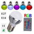 Multicolor E27 E14 LED RGB Bulb Lamp AC110V 220 V LED RGB Spot light regulável magia RGB iluminação com controle remoto IR 16 cores