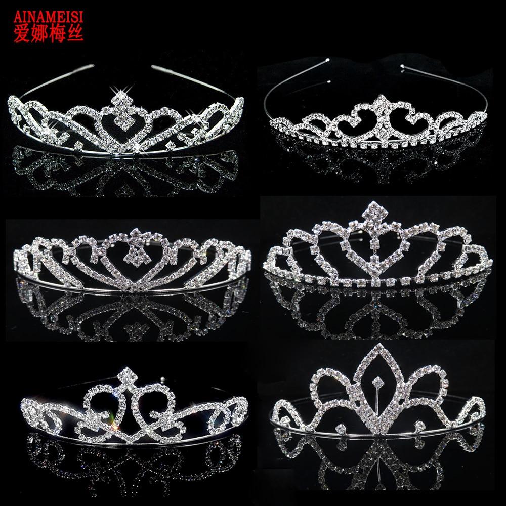 AINAMEISI Bridal Princess Tiara Crown Headband Girls Women Love Rhinestone Wedding Tiaras Silver Hair Jewelry Crystal Ornament