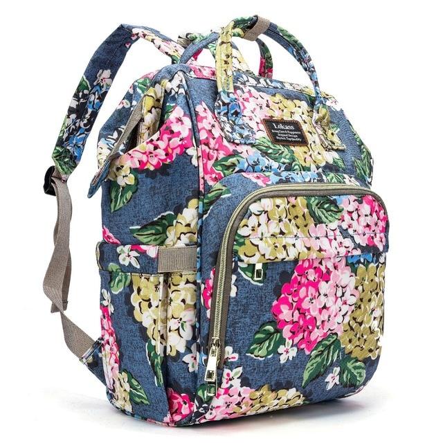 Fashion Baby Luiertas Bloem Patroon Rugzak Waterdichte Multifunctionele Reizen Luiertas met Aankleedkussen Geïsoleerde bag