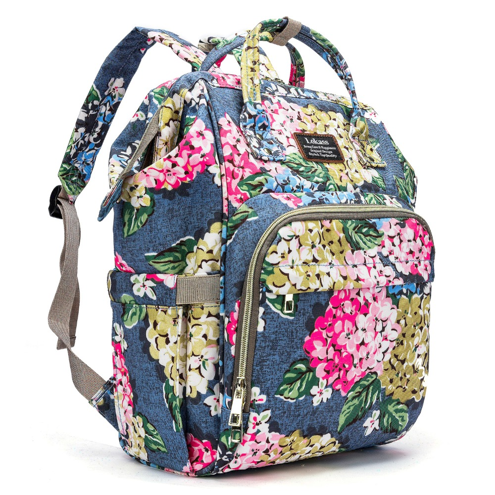 Fashion Baby Diaper Bag Flower Pattern Backpack Waterproof Multi-Function Travel Nappy Bag With Changing Pad Insulated Pouch Bag