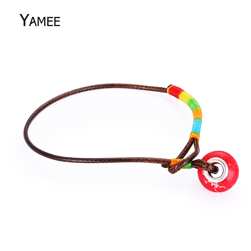 Unique Round Red Sea Sediment Natural Stone Braided Colorful Rope Chain Fashion Leather Bracelet Ethnic Style Charms For Women