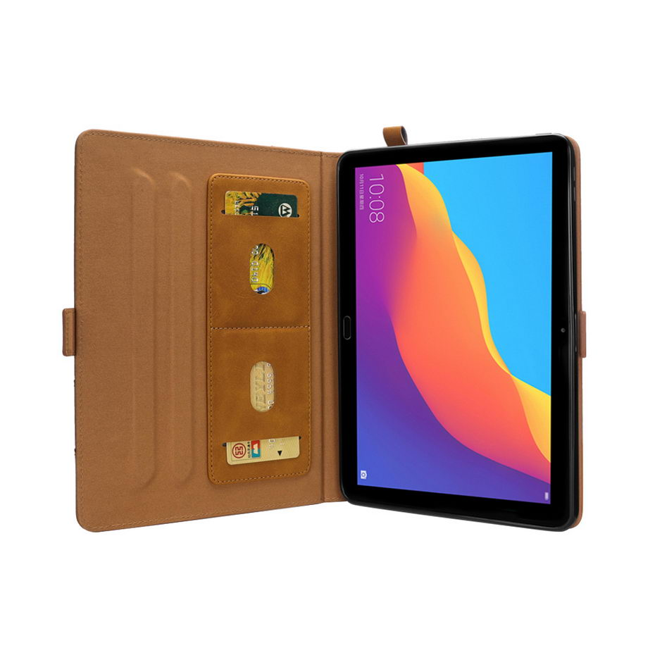 Luxury PU Leather Magnetic Smart Stand Cover Case For Huawei Mediapad T5 10.1 Inch With Card Slot Pen Set+Film+Pen