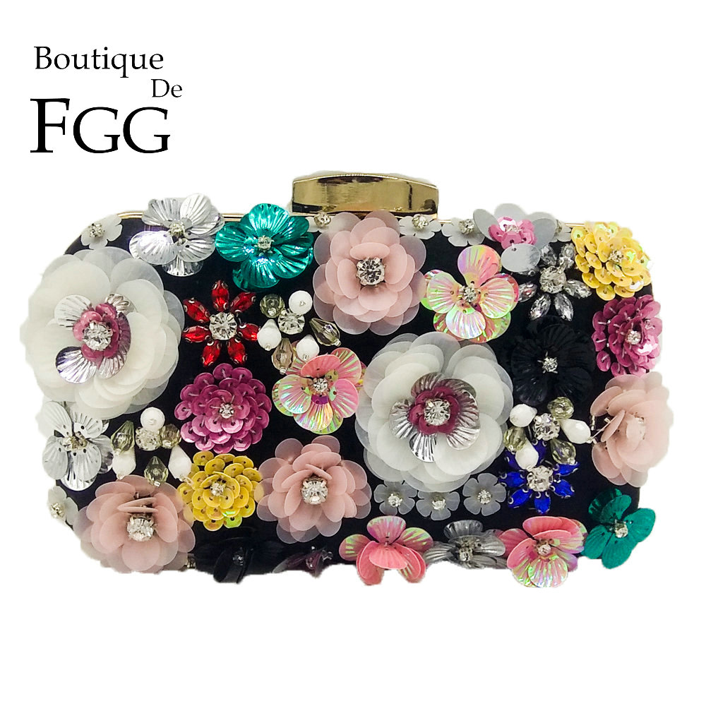 Boutique De FGG Socialite Women Flower Evening Bags Wedding Party Bridal Beaded Purse Crystal Clutch Handbag Bolso Fiesta Mujer