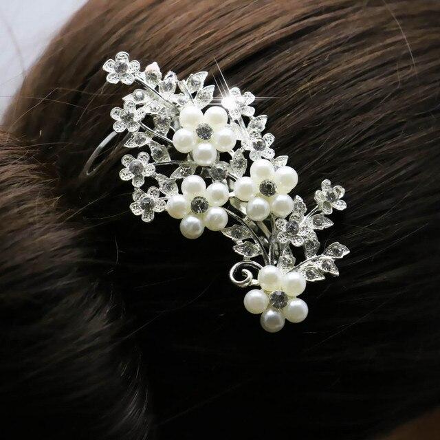 2019 Novos De Cristal De Noiva Hairpin Moda Cabelo Pérola Pente Grampo de Cabelo Para As Mulheres de Casamento Da Menina de Flor Acessórios de Decoração de Jóias