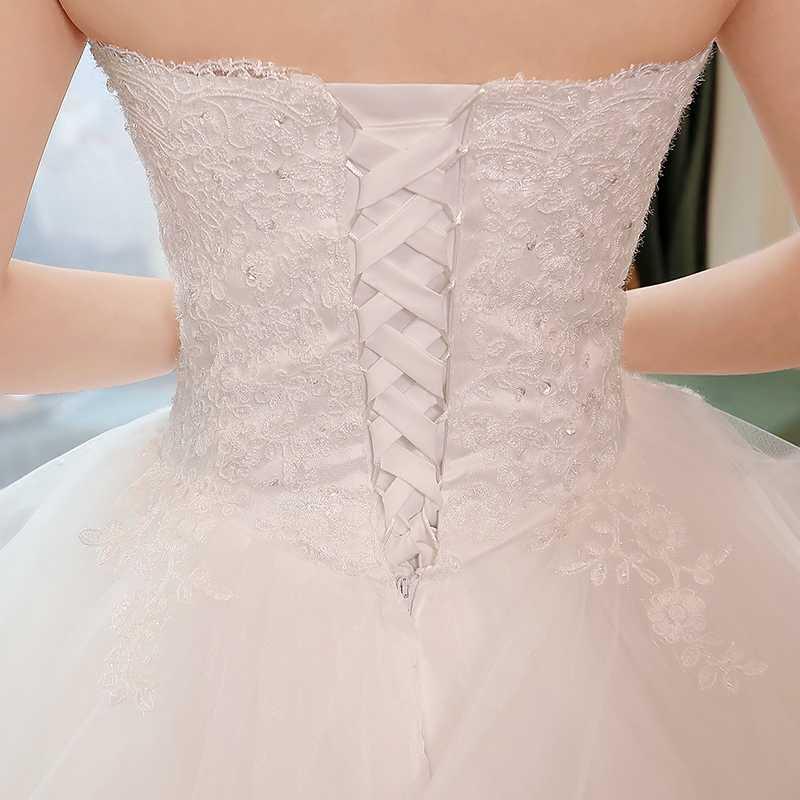 Novo e Elegante Princesa Vestidos De Noiva 2018 Doce vestido de Baile Lace Up Voltar Tulle Beads Vestido do Assoalho-Comprimento de Vestidos de Noiva de noiva