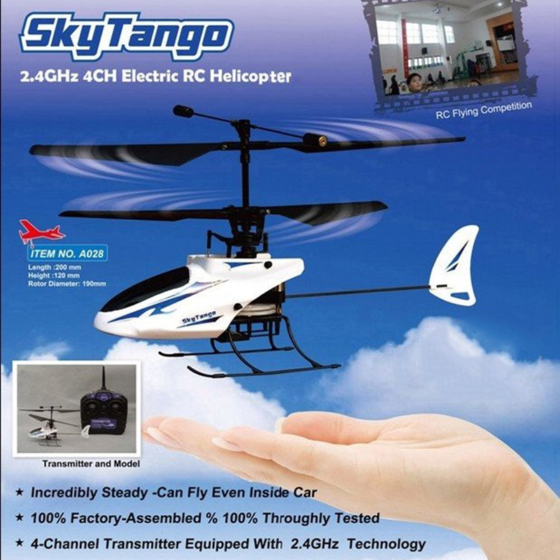 स्काई टैंगो आरसी हेलीकाप्टर 2.4GHz 4CH फ्लाइट सिमुलेटर गायरोस्कोप रिचार्जेबल रेडी टू फ्लाई एंड LED लाइट्स एजुकेशनल टॉयज के साथ