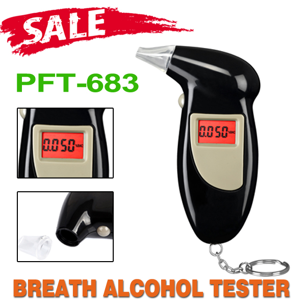 Keychain Alcohol Tester Breathalyzer Alcohol Detector With Red Backlight LCD Display & 5 Mouthpieces RETAIL PACK Free Shipping