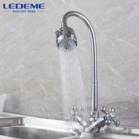 LEDEME Kitchen Faucet Dual Holder And Two Kinds Of Water Way Outlet Pipe Tap Basin Plumbing