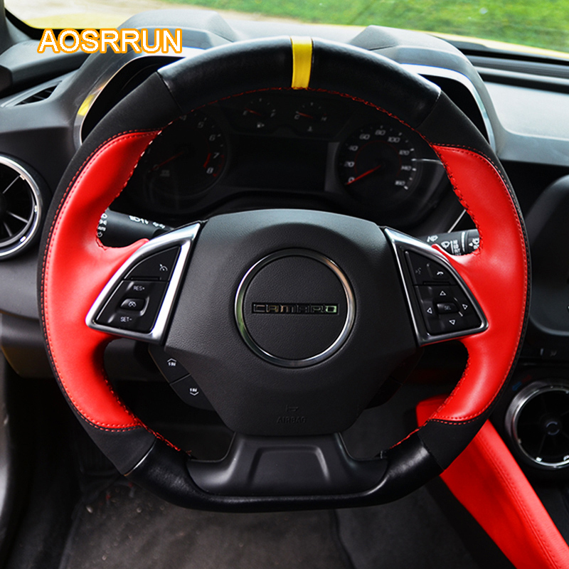 AOSRRUN Leather steering wheel covers Car accessories For Chevrolet Camaro Sixth generation 2016-present car inner door speaker loundspeaker metal mesh cover trim 2pcs set for chevrolet camaro sixth gen 2016 2017